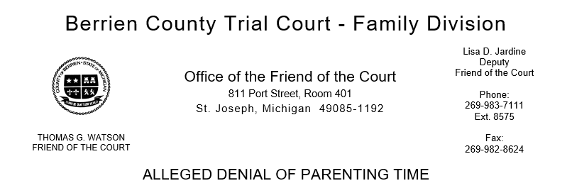 Alleged Denial of Parenting Time Form Header